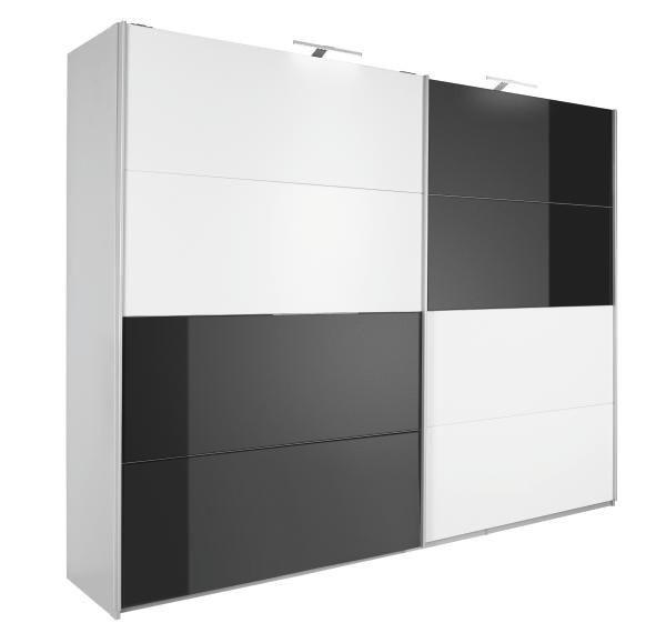 SCHWEBETÜRENSCHRANK in Schwarz, Weiß - Alufarben/Schwarz, Design, Glas/Holzwerkstoff (271/210/62cm) - XORA