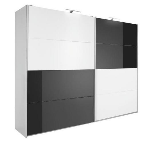 SCHWEBETÜRENSCHRANK 2-türig Schwarz, Weiß - Schwarz/Alufarben, Design, Glas/Holzwerkstoff (226/210/62cm) - Xora