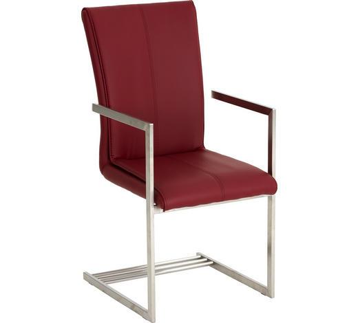 ARMLEHNSTUHL in Rot, Edelstahlfarben  - Edelstahlfarben/Rot, Design, Textil/Metall (51/102/53cm) - Dieter Knoll