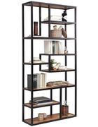 REGÁL, akácie, černá, barvy akácie - černá/barvy akácie, Trend, kov/dřevo (90/190/30cm) - Carryhome