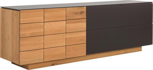 SIDEBOARD Wildeiche massiv, mehrschichtige Massivholzplatte (Tischlerplatte) geölt Braun, Eichefarben - Eichefarben/Braun, Design, Glas/Holz (224/73,4/51,8cm) - Voglauer