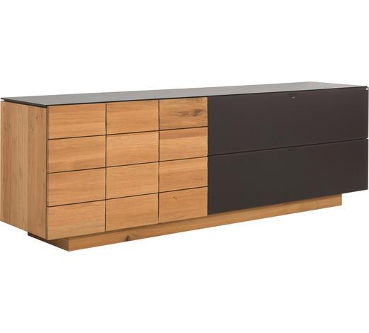 SIDEBOARD Wildeiche massiv, mehrschichtige Massivholzplatte (Tischlerplatte) geölt - Eichefarben/Braun, Design, Glas/Holz (224/73,4/51,8cm) - Voglauer