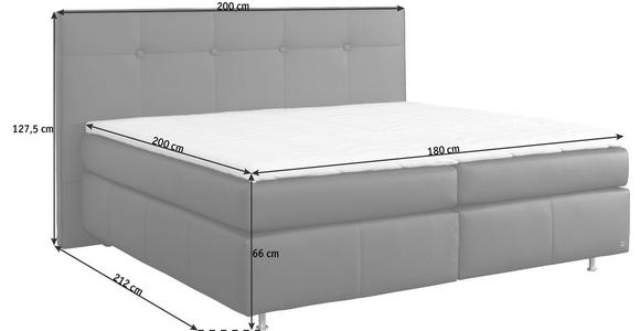 BOXSPRINGBETT Lederlook 180/200 cm  INKL. Matratze, Topper - Dunkelbraun/Alufarben, KONVENTIONELL, Textil/Metall (180/200cm) - Dieter Knoll