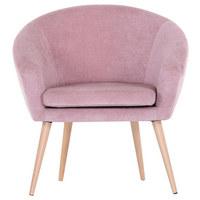 Sessel in Rosa Textil - Rosa/Naturfarben, MODERN, Holz/Textil (73/73/66cm) - Carryhome