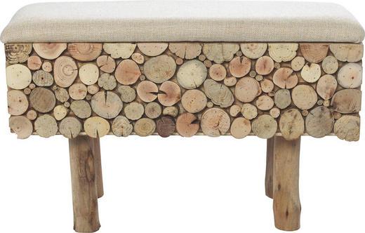 HOCKER in Holz, Textil Braun - Braun, LIFESTYLE, Holz/Textil (62/23/39cm) - Ambia Home