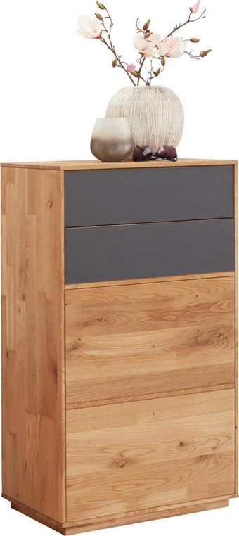 Schuhschrank - Eichefarben/Anthrazit, Design, Glas/Holz (60/105/38cm) - Valnatura