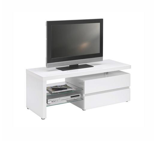 TV ELEMENT - bijela/boje aluminija, Design, staklo/drvni materijal (124,50cm) - Xora