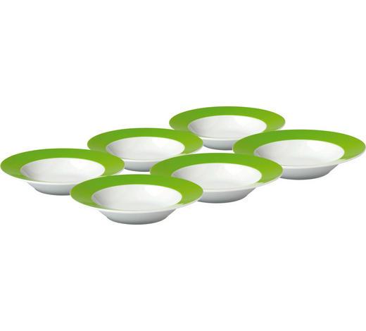 SUPPENTELLERSET Porzellan  6-teilig  - Weiß/Grün, Basics, Keramik (21,5cm)