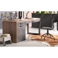 PISALNA MIZA leseni material siva, hrast  - siva/hrast, Trend, kovina/leseni material (170/76/69cm) - Carryhome