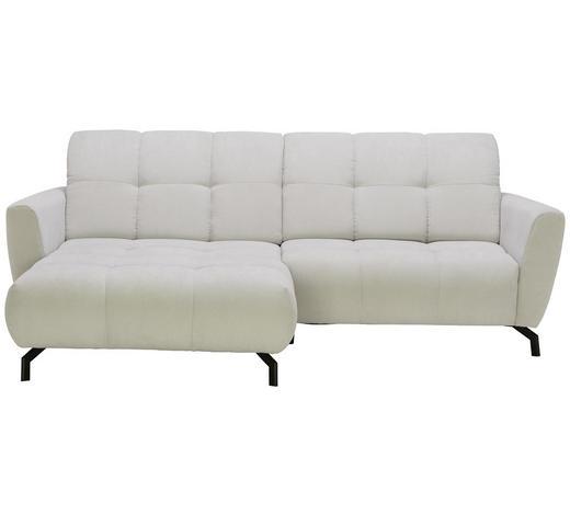 WOHNLANDSCHAFT in Textil Silberfarben - Silberfarben/Schwarz, MODERN, Textil/Metall (176/242cm) - Hom`in