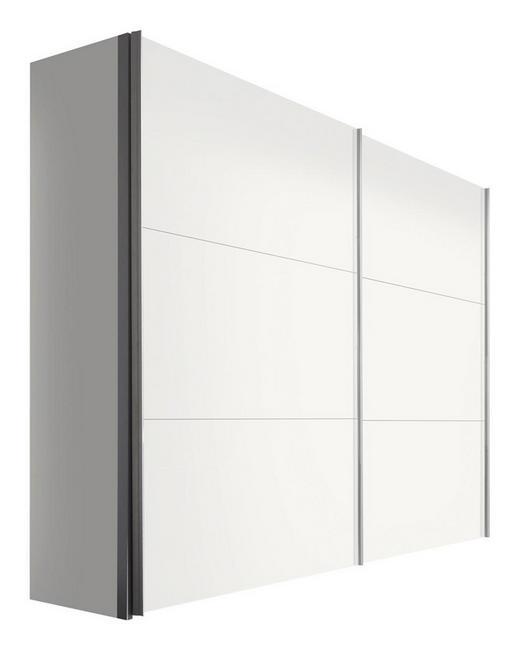 SCHWEBETÜRENSCHRANK 2-türig Weiß - Alufarben/Weiß, KONVENTIONELL, Holzwerkstoff/Metall (250/216/68cm) - Hom`in
