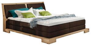 BOXSPRINGBETT 140 cm   x 200 cm   in Holz, Textil Braun, Eichefarben - Eichefarben/Braun, Design, Holz/Textil (140/200cm) - Linea Natura