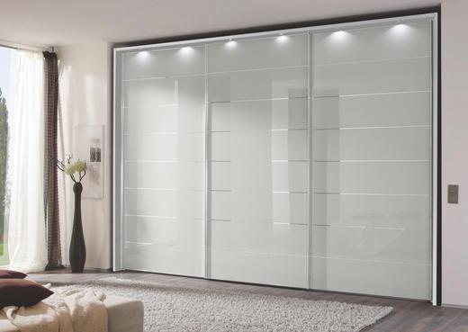 SCHWEBETÜRENSCHRANK 3  -türig Silberfarben, Weiß - Chromfarben/Silberfarben, Design, Glas/Holzwerkstoff (336/222/68cm) - MODERANO