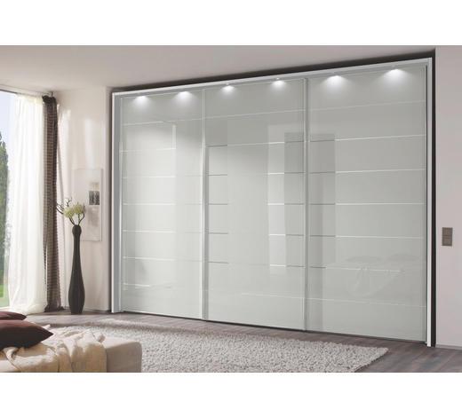 SCHWEBETÜRENSCHRANK 3-türig Silberfarben, Weiß  - Chromfarben/Silberfarben, Design, Glas/Holzwerkstoff (336/222/68cm) - Moderano