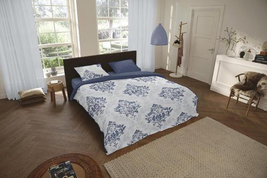 BETTWÄSCHE Satin Blau, Weiß 135/200 cm - Blau/Weiß, Trend, Textil (135/200cm)