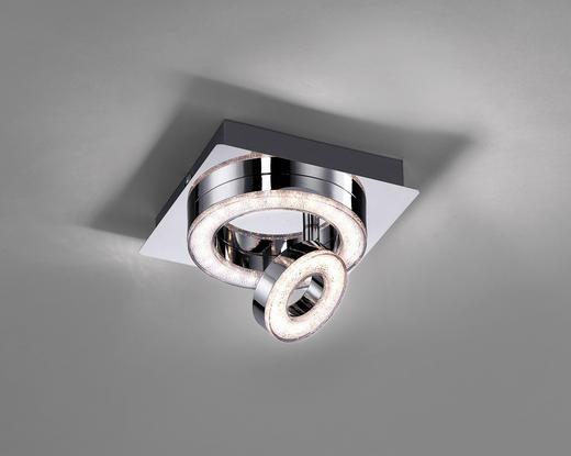 LED-DECKENLEUCHTE - Chromfarben, Design, Glas/Kunststoff (17/17/13cm) - Novel