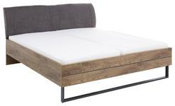 BETT in Graphitfarben, Eichefarben  - Eichefarben/Graphitfarben, Trend, Holzwerkstoff/Textil (180/200cm) - Xora