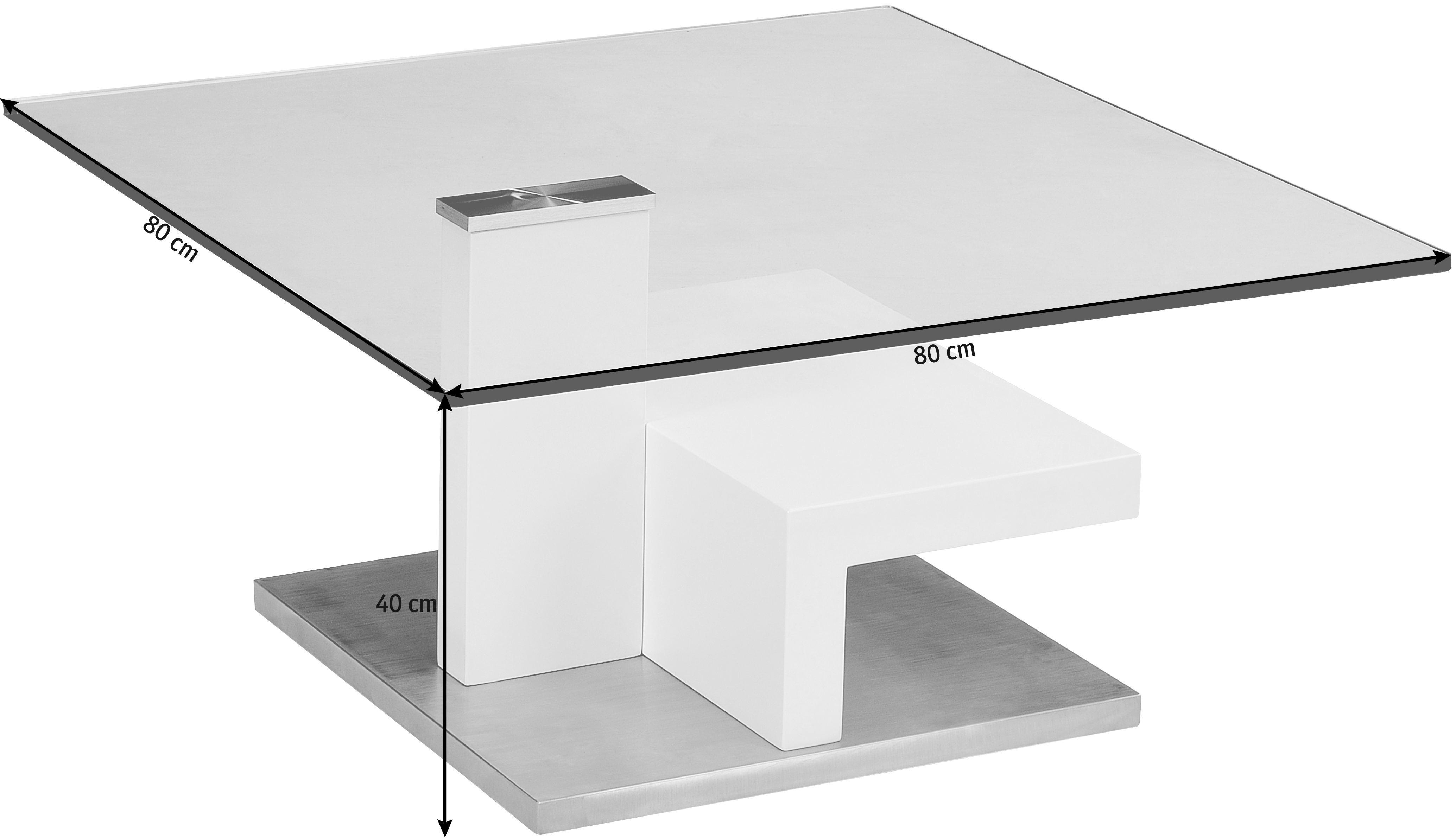KLUBSKA MIZA - barve nerjavečega jekla/bela, Design, kovina/steklo (80/40/80cm) - XORA