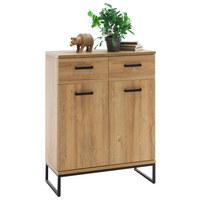 BOTNÍK - černá/barvy dubu, Design, kov/dřevěný materiál (81/104/38cm) - Xora
