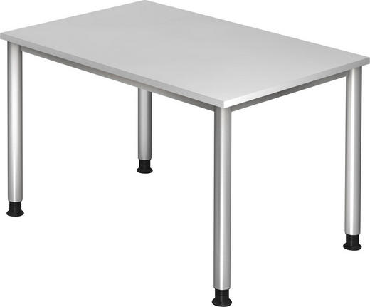 SCHREIBTISCH Silberfarben, Weiß - Silberfarben/Weiß, KONVENTIONELL, Metall (120/68-76/80cm)