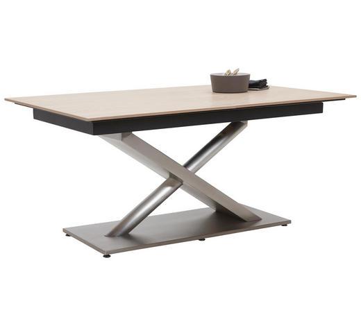 ESSTISCH in Holz, Metall 140(190)/100/77 cm   - Edelstahlfarben/Eichefarben, Design, Holz/Metall (140(190)/100/77cm) - Dieter Knoll