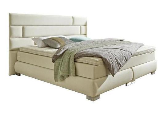 BOXSPRINGBETT Lederlook 180/200 cm  INKL. Matratze, Topper - Edelstahlfarben/Beige, Design, Textil (180/200cm) - Welnova
