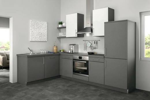 Eckküche ohne E-Geräte - Weiß/Grau, Design (185/285cm) - Set one by Musterrin