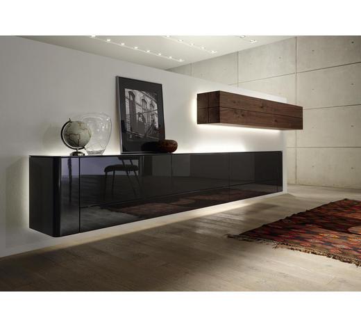 WOHNWAND Kernnussbaum furniert Grau, Nussbaumfarben  - Nussbaumfarben/Grau, Design, Holz (440/45cm) - Hülsta