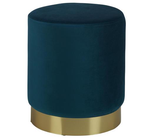 HOCKER in Metall, Textil, Holzwerkstoff Goldfarben, Petrol - Goldfarben/Petrol, Trend, Holzwerkstoff/Textil (35/40/35cm) - Xora