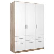 DREHTÜRENSCHRANK in Weiß, Eichefarben  - Eichefarben/Alufarben, KONVENTIONELL, Holzwerkstoff/Kunststoff (136/197/54cm) - Carryhome