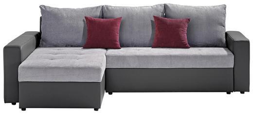 WEBSTOFF ECKSOFA Webstoff Bettkasten, Schlaffunktion - Dunkelgrau/Schwarz, Design, Kunststoff/Textil (245/80/175cm) - TI`ME