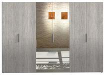 KLEIDERSCHRANK 6-türig Eichefarben - Eichefarben/Alufarben, Design, Glas/Holzwerkstoff (300/216/58cm) - Hom`in