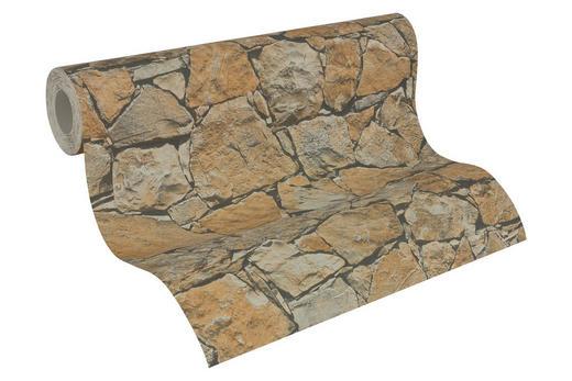 Vliestapete in steinopktik 10,05 m - Braun/Grau, LIFESTYLE, Textil (53/1005cm)