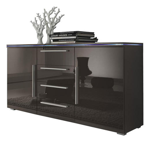 SIDEBOARD Hochglanz, melaminharzbeschichtet Grau - Silberfarben/Grau, Design, Holzwerkstoff/Kunststoff (135/70/34cm) - CARRYHOME