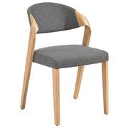 STUHL Altholz, Eiche massiv Eichefarben, Grau - Eichefarben/Grau, Design, Holz/Textil (53/82/57cm) - VOGLAUER