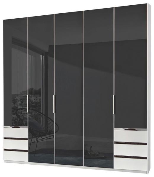 KLEIDERSCHRANK 5-türig Grau, Weiß - Alufarben/Weiß, Design, Glas/Holzwerkstoff (250/216/58cm) - Carryhome