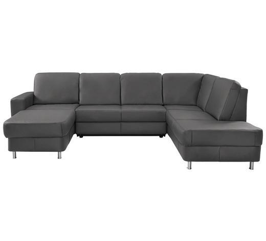 WOHNLANDSCHAFT in Leder Grau - Chromfarben/Grau, Design, Leder/Kunststoff (167/301/198cm) - Xora