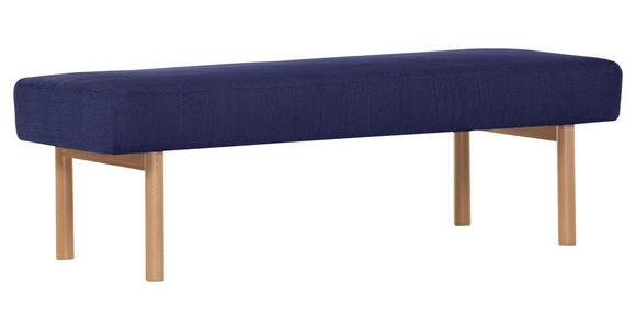 HOCKERBANK in Holz, Textil Blau  - Blau/Buchefarben, KONVENTIONELL, Holz/Textil (160/50/46cm) - Cantus