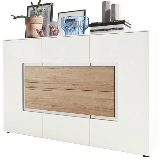 SIDEBOARD Hochglanz, matt Eichefarben, Weiß - Eichefarben/Schwarz, Design, Holzwerkstoff/Kunststoff (143/98/40cm) - Set one by Musterrin
