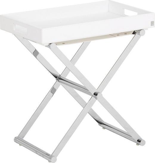 BEISTELLTISCH rechteckig Chromfarben, Weiß - Chromfarben/Weiß, Basics, Textil/Metall (52/50/32cm) - Joop!