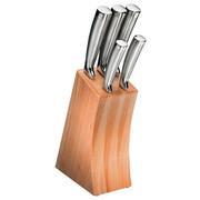 MESSERBLOCK Edelstahl 6-teilig  - Edelstahlfarben, Basics, Holz/Metall (30/21/8,2cm) - Justinus