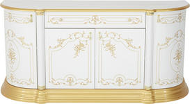 STUHL in Holzwerkstoff, Textil Goldfarben, Weiß - Goldfarben/Weiß, LIFESTYLE, Holzwerkstoff/Textil (48/105/54cm) - Cantus