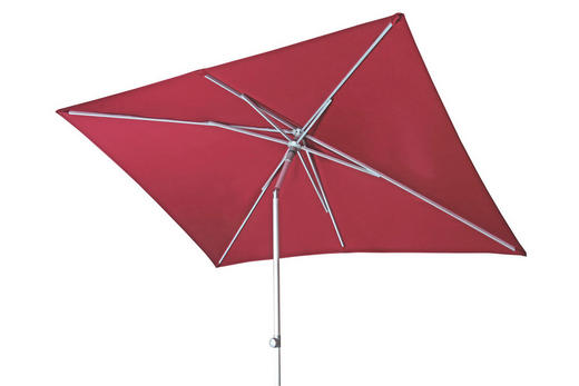 SONNENSCHIRM 200x250 cm Rot - Rot/Silberfarben, KONVENTIONELL, Textil/Metall (250/200cm)