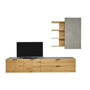 WOHNWAND in Eichefarben, Grau - Eichefarben/Anthrazit, Design, Holz/Holzwerkstoff (322/214/45cm) - Hülsta