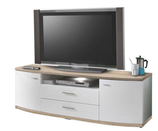 TV-ELEMENT Eichefarben, Weiß - Eichefarben/Alufarben, Design, Kunststoff/Metall (165,1/52,6/50cm) - Xora
