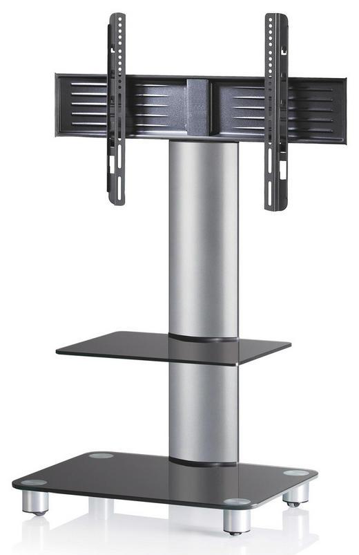TV-RACK Schwarz, Silberfarben - Silberfarben/Schwarz, KONVENTIONELL, Glas/Metall (60/100/44cm)