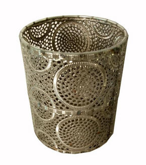 VÄRMELJUSHÅLLARE - silver, Lifestyle, metall/glas (13/15,5cm) - Ambia Home