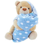 Kuscheldecke mit Teddy - Bella - Blau, KONVENTIONELL, Textil - Ombra