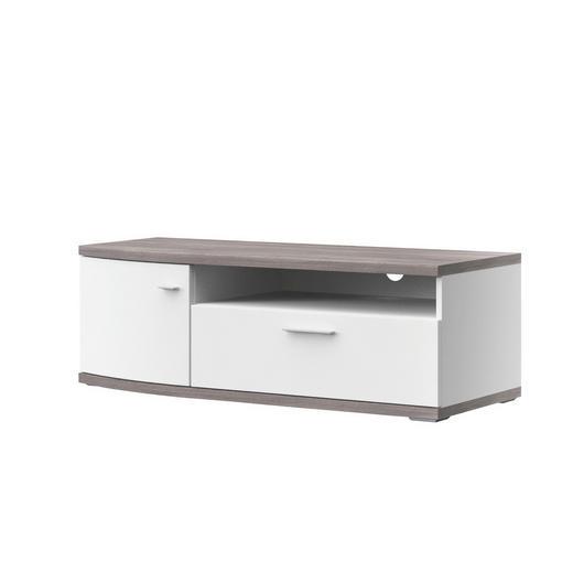 TV-ELEMENT Eichefarben, Weiß - Eichefarben/Alufarben, Design, Kunststoff/Metall (121,3/40,5/50cm) - Xora