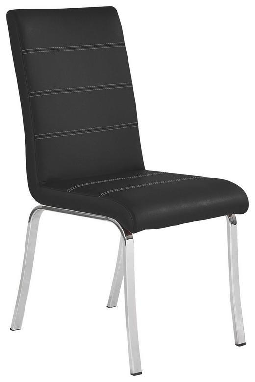 STUHL Lederlook Schwarz - Schwarz/Weiß, Design, Textil/Metall (44/95/58cm) - Dieter Knoll